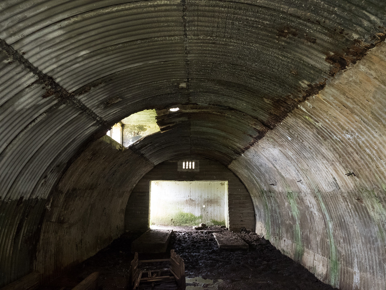 Inside one of the battery buildings.
