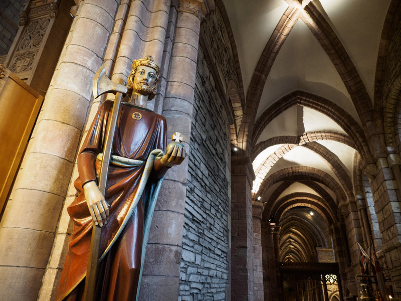 A statue of the Norwegian King St. Olaf, given as gift from the Church of Norway to mark the Cathedral's 800th anniversary. St. Olaf turns up a lot in Orkney.