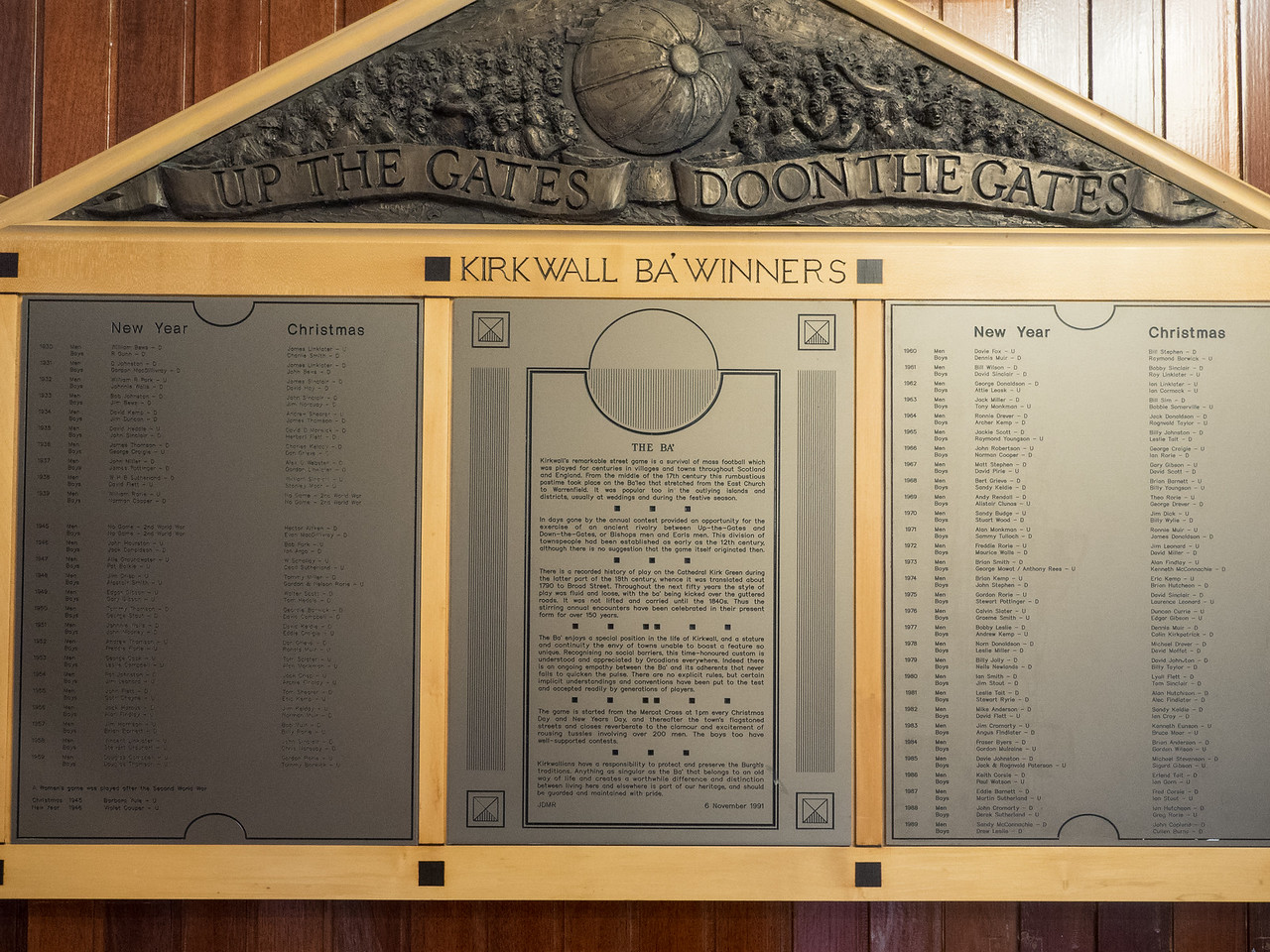 The Ba' is a traditional ball game played in Orkney, on Christmas Day and New Year's Day. This plaque showing the winners  going back to the Nineteenth century was in the town hall.