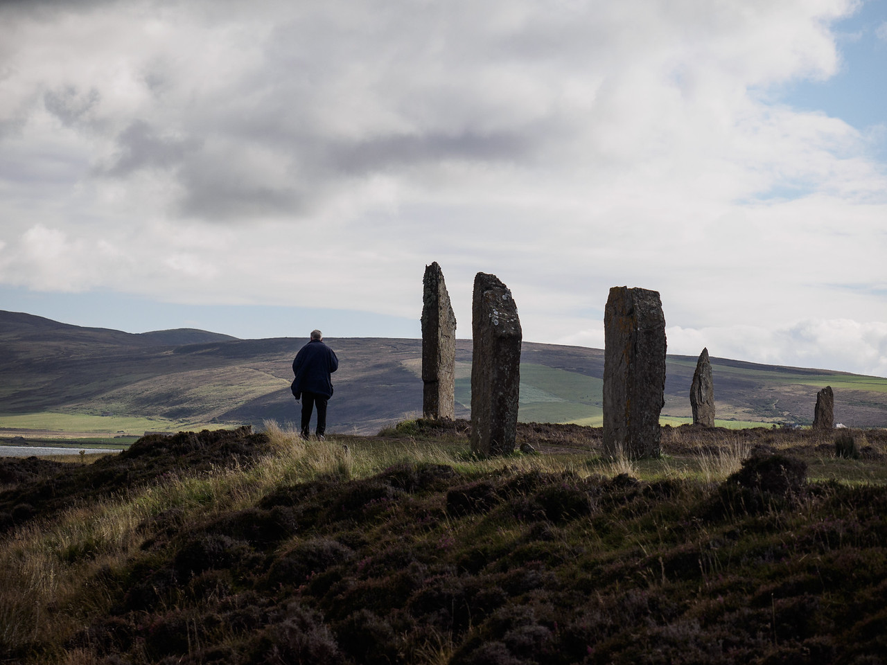 The stone circle is in a beautiful location.
