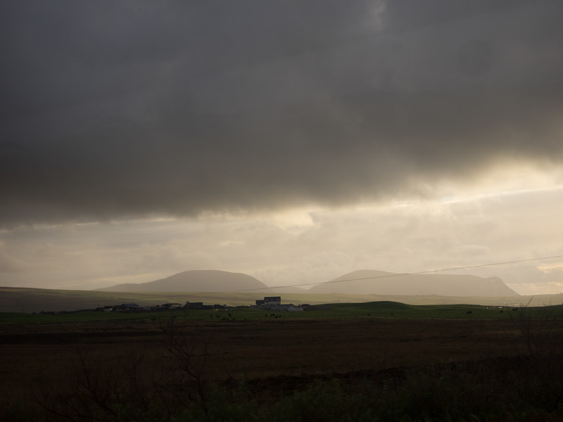 Moody clouds on the bus back from Skara Brae.