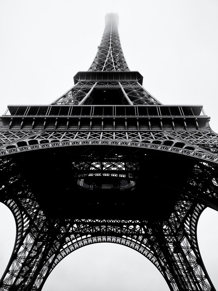 The Eiffel tower on a drizzly afternoon.