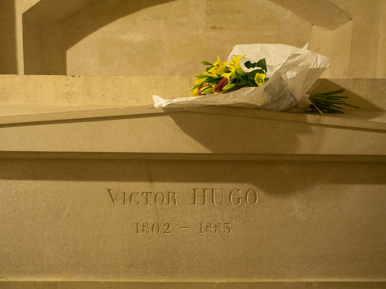 Fresh flowers at Victor Hugo's tomb.