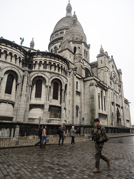 Another foot patrol walking past Sacre Coeur, in Montmartre.