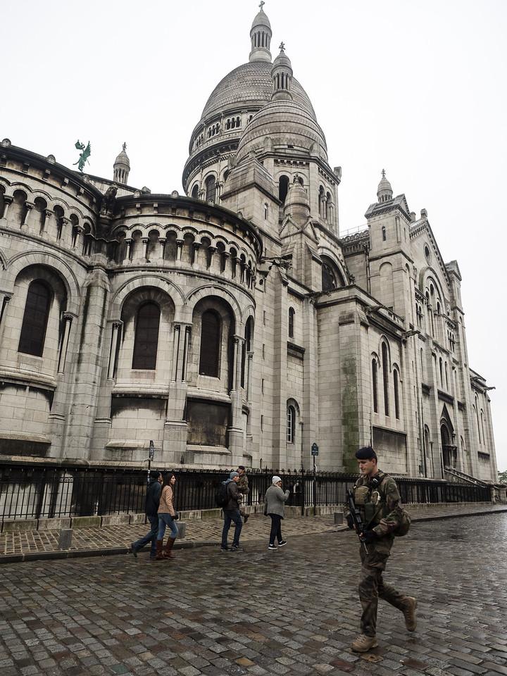 Another foot patrol walking past Sacre Coeur, in Montmartre.