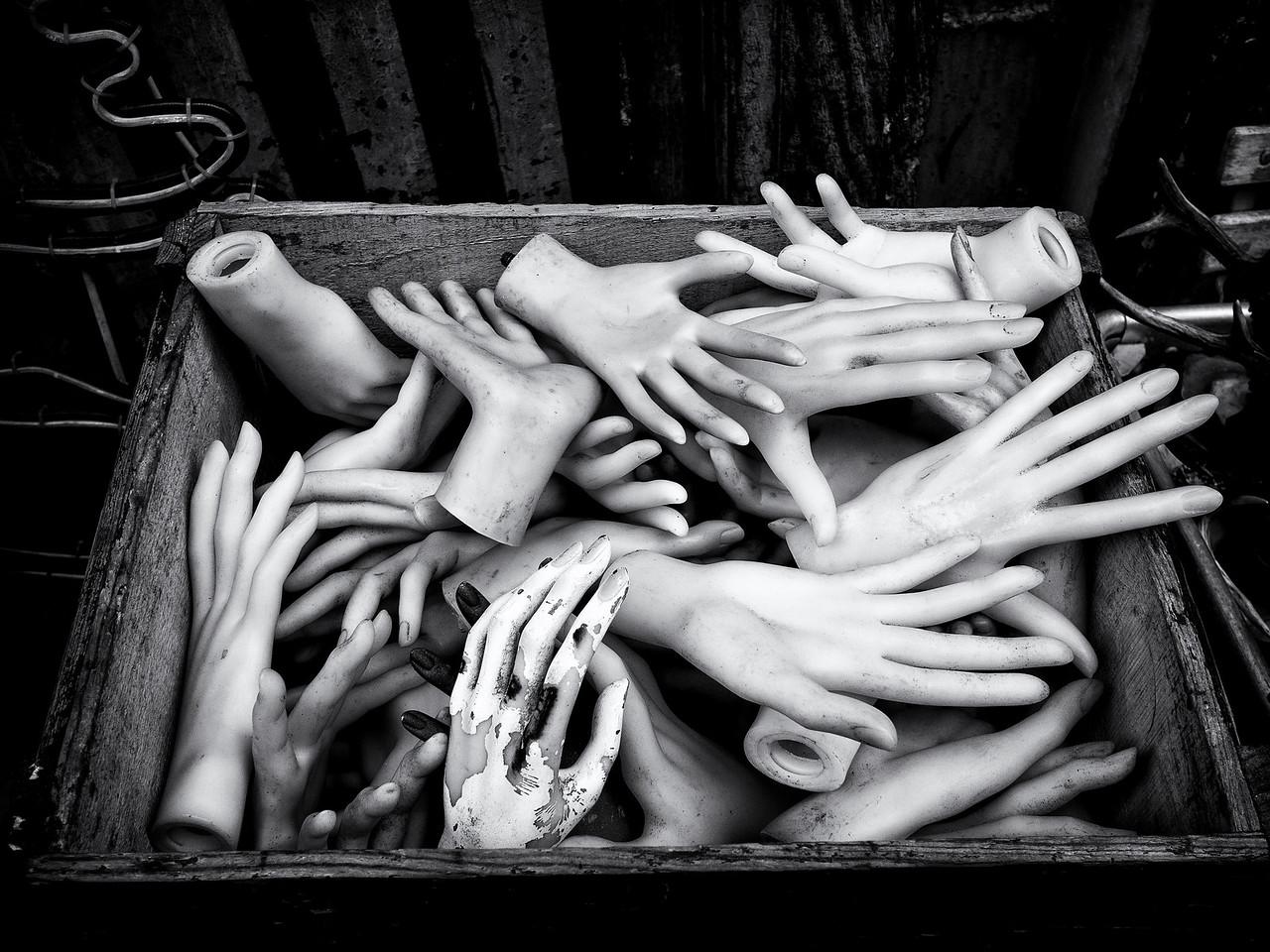 A box of hands outside a strange shop in Montmartre.<br /> <br /> Fin!