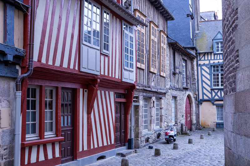 Medieval Half-Timbered Houses & Cobblestone Alley