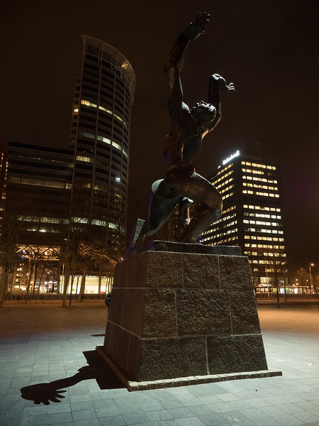 This statue, The Destroyed City, commemorates the destruction of Rotterdam in 1940 by German bombing. The central part of the city was almost completely leveled.