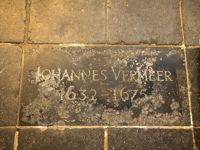 The burial place of Vermeer in the Old Church in Delft. He lived his entire life here and died pretty much in poverty, his brilliance only being recognised many years later.