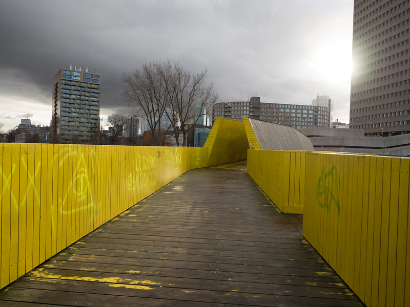 "The Luchtsingel (""air canal"") elevated walkway was constructed to revitalise a rundown part of central Rotterdam, and connect together several areas of the city. It brings a welcome splash of colour to an otherwise grey part of the city and is much-beloved of Instagrammers, for obvious reasons."