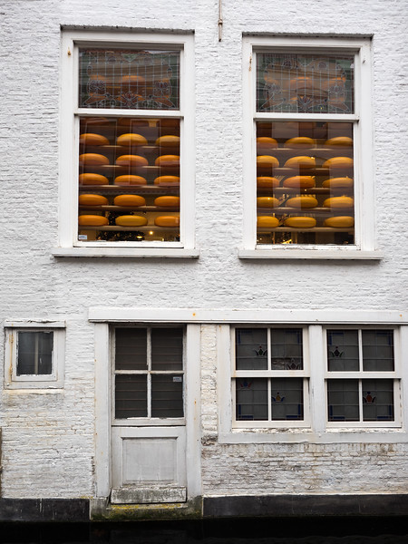 The back of a cheese shop in Delft, looking on to a canal. The town has a network of cute little canals.