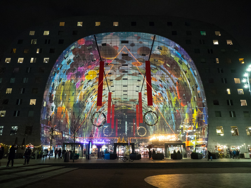 Rotterdam's Markthal (Market Hall) , which opened in 2014 (you can see how many of the city's iconic buildings were constructed in recent years). The central bit has lots of market stalls, cafes and restaurants.