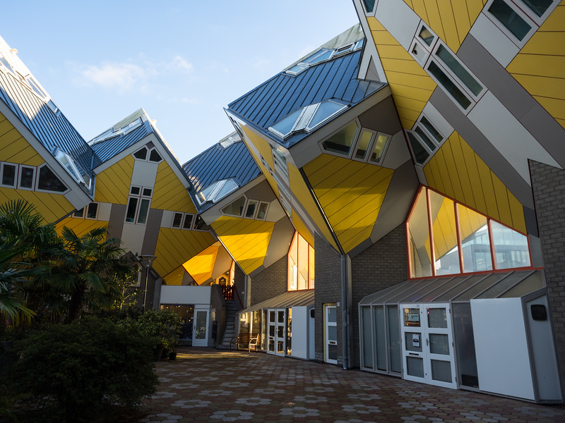 The fantastically-odd Cube Houses, designed by architect Piet Blom  in the 1970s. Looking at them from below it's hard to imagine that people actually live in them,  but they do - though they must get completely tortured by the hordes of tourists like myself coming to gawk at their homes.