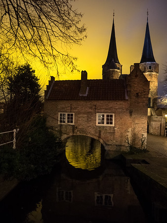 Oostpoort, the original East gate into Delft. It appears in one of Vermeer's paintings - click this link to see the painting:  **Vermeer's View of Delft**