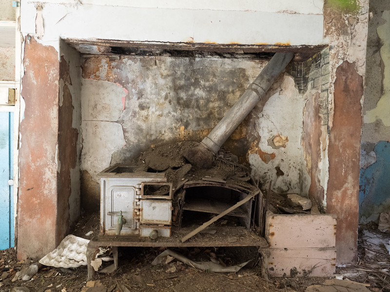 Inside another ruined farmhouse. This one had some interesting things inside, such as this old stove