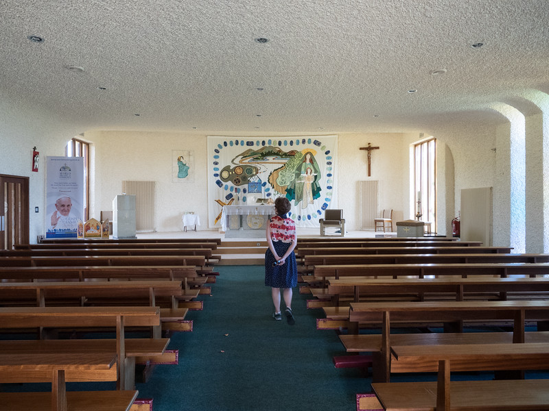 Inside the church.