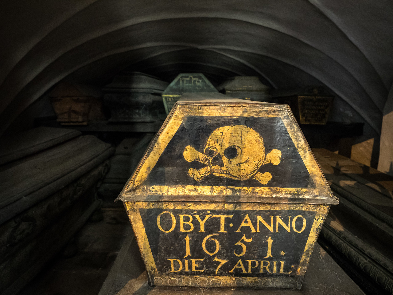 A crypt full of coffins in Riddarholmskyrkan church.