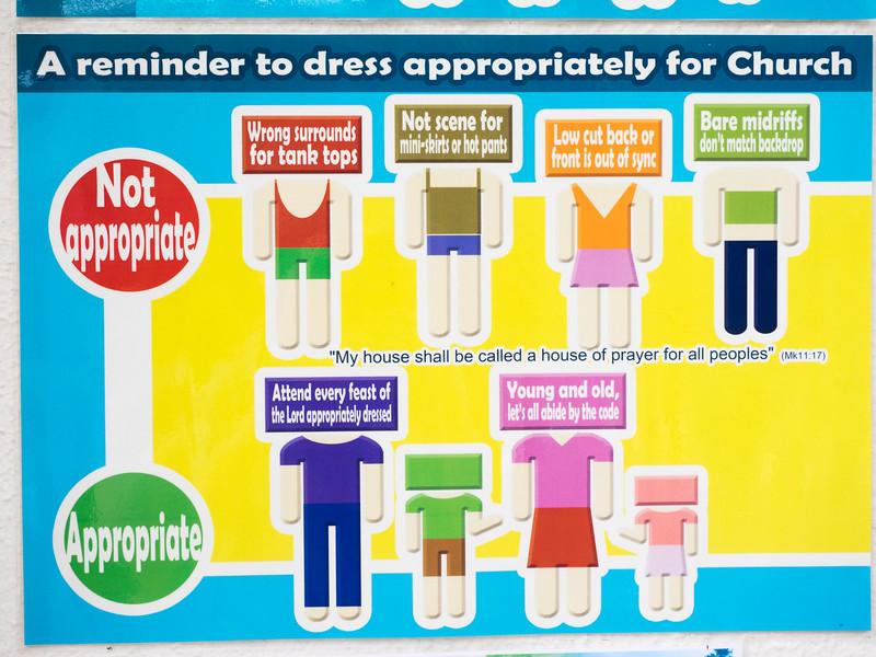 No hot pants in church. Or strange tank tops.