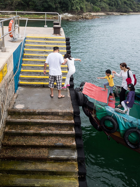 A little bit precarious getting off the boat.