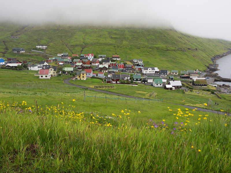 The colourful little village at Funningur.