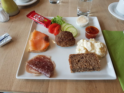 """We had lunch in Gjógv - the meatball was particularly delicious (""""I save that for last"""", said Karl, the tour guide. """"It's like the dessert""""). Though he then added that the KitKat was the actual dessert."""