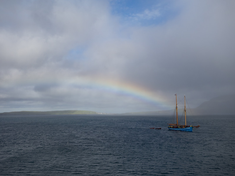 A rainbow as we sailed back to the mainland.<br /> <br /> The Faroes are absolutely beautiful. I'll definitely be back - and praying for better weather!<br /> <br /> And one final tip: if you're flying back from here, and have just bought something nice in Duty Free - a traditional Faroese jumper, perhaps - don't go though the door right beside the till. That takes you into Arrivals and you have to go through security again. Not that I would ever do anything so stupid :)