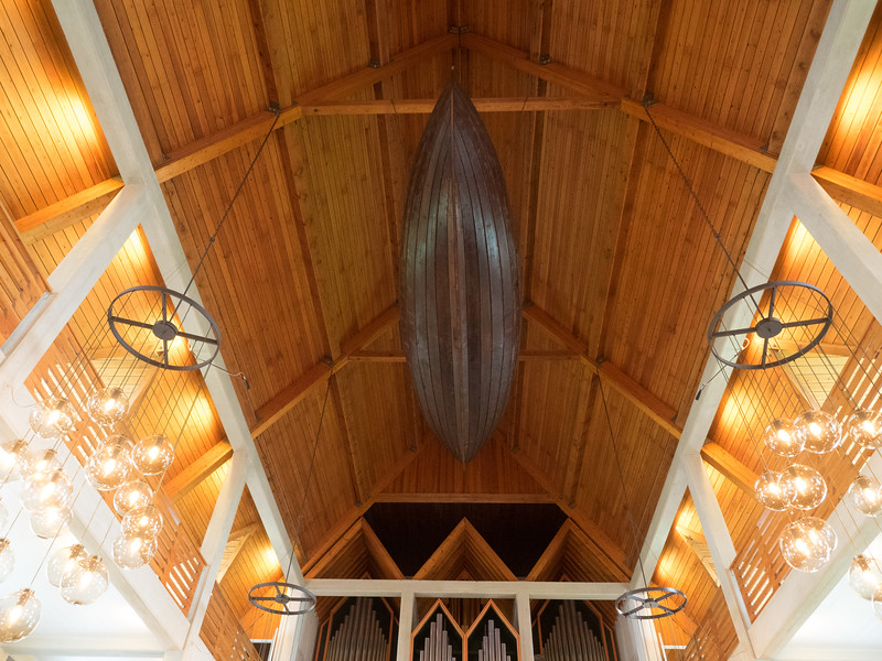 An old boat on the ceiling of the church in Klaksvik.