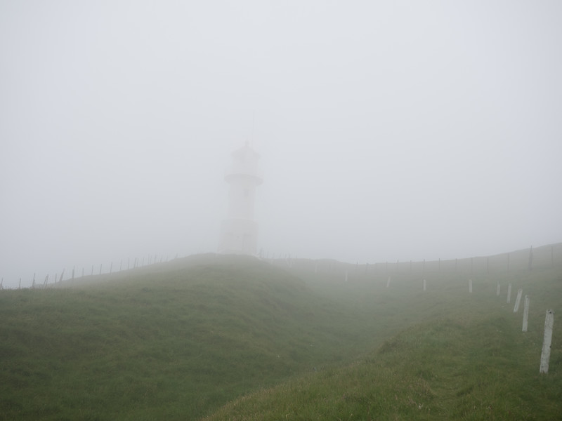 Hiking to the lighthouse on Mykines. When I started out it was overcast but clear. Half way to the lighthouse thick fog and heavy rain had set in, and I could hardly see anything. It was a bit scary! The lighthouse wasn't visible  until I was right beside it.  Coming back was frightening - with the rain and fog all I could see were the yellow stakes marking the path, and I knew there were sheer cliffs all around. The path was also incredibly muddy; I fell several times, counting my blessings every time I was able to get up, uninjured. I got back to the village cold, wet but very relieved.