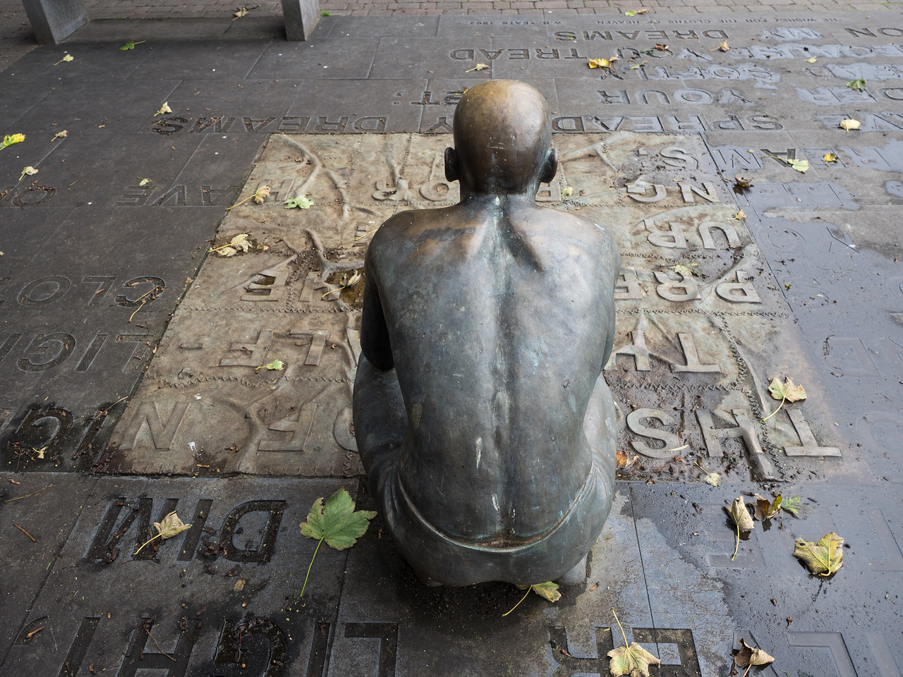 An odd statue at the Yeats memorial, looks like he's been caught short.
