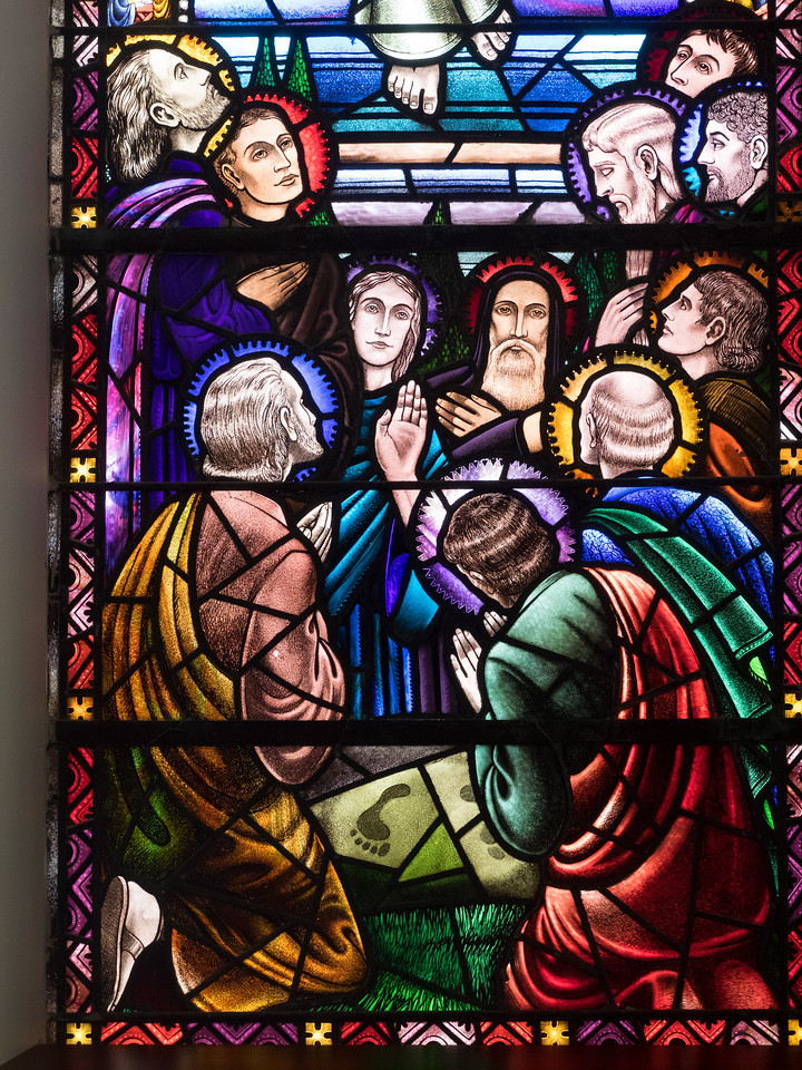 Beautiful stained-glass window in Cliffoney church.