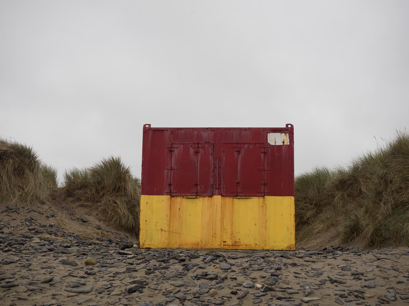 A strikingly out-of-place container on Streedagh beach.