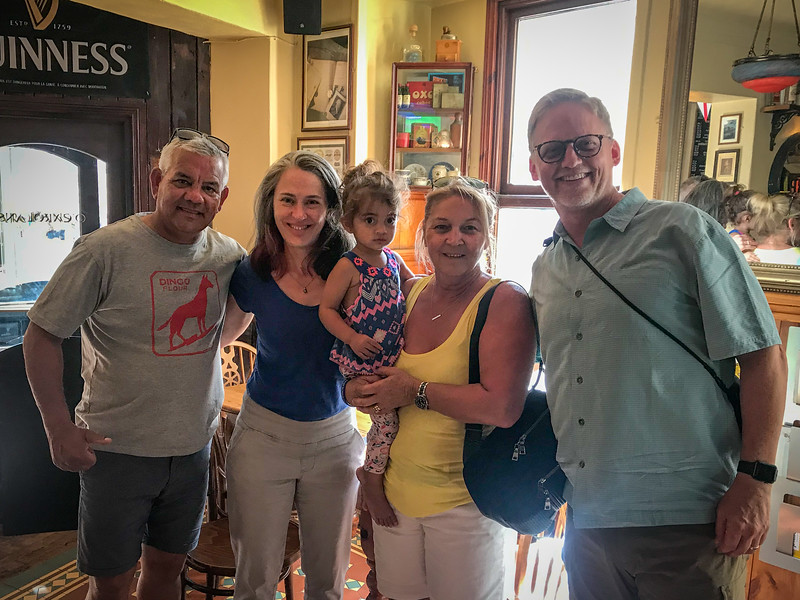 Posing with Sam Kerr's parents at an Irish Pub