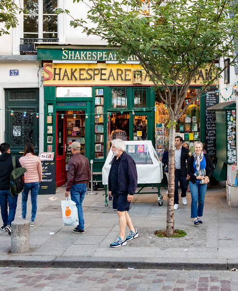 Lauren Exiting the Shakespeare and Company Bookstore