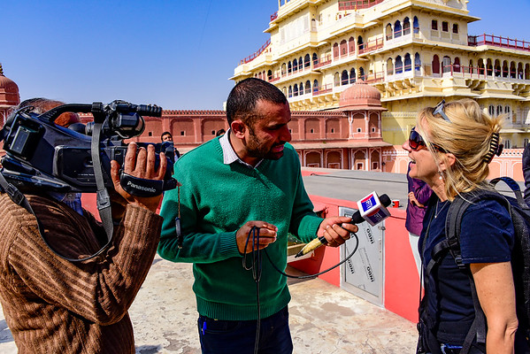 Paula getting interviewed for local Jaipur TV station