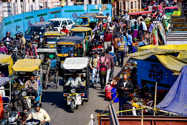 Jaipur traffic with all forms of vehicles