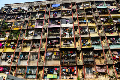 apartments in the slums, very colorful
