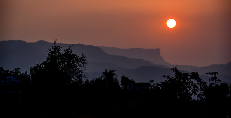 beautiful sunset on the mountains near Mumbai