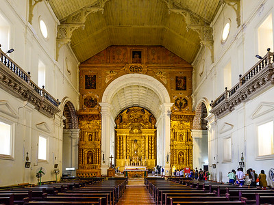 Goa - Basilica of Bom Jesus, was burnt and rebuilt sparsely with gold altar