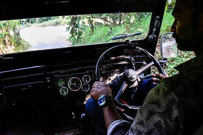 Munnar - our jeep tour driver, at ease behind the wheel