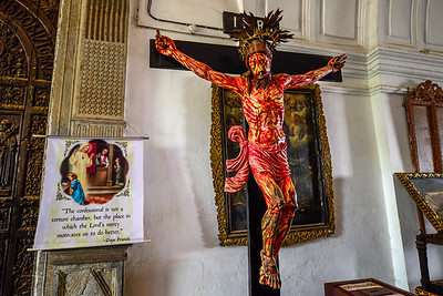 Goa - Jesus on the cross depicted in blood and pain