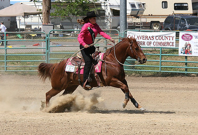 Heading for the finish line after completing the triangle in barrel racing.