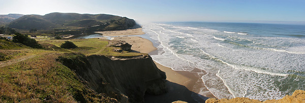 Multi image panorama of San Gregorio State Beach, between Pacifica and Half Moon Bay on the central California coast.