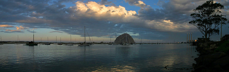 A 5-image panorama of morning on Morro Bay.