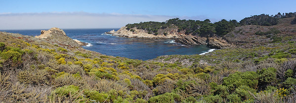 Headland Cove on the right, Punta de Los Lobos Marinos (Sea Wolf Point) on the left.  Multi-image panorama.