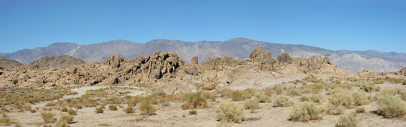 A multi-image panorama of typical Alabama Hills terrain.