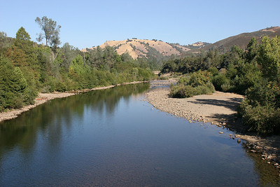 American River.  The gold discovery site is just up the little inlet on the left bank in this image.