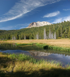 Dersch Meadow and Mt. Lassen; 4 horizontal images stacked vertically and merged.