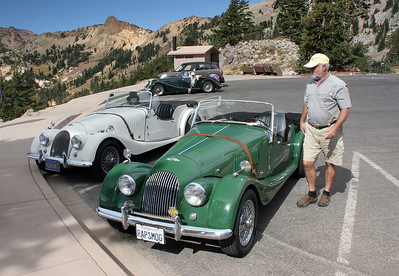 Two of the 6 to 8 old Morgan sport cars that parked in the Bumpass' Hell trailhead parking lot.