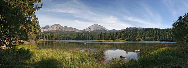 Another 5-image panorama of Mt. Lassen and Manzanita Lake from the around-the-lake trail which we hiked.