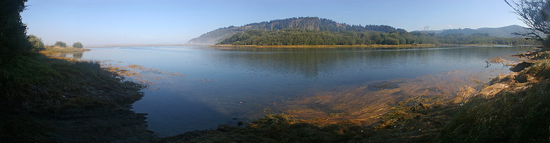 Multi-image panorama of the Klamath River near its mouth on the Pacific coast.  We camped in an RV park along this river.